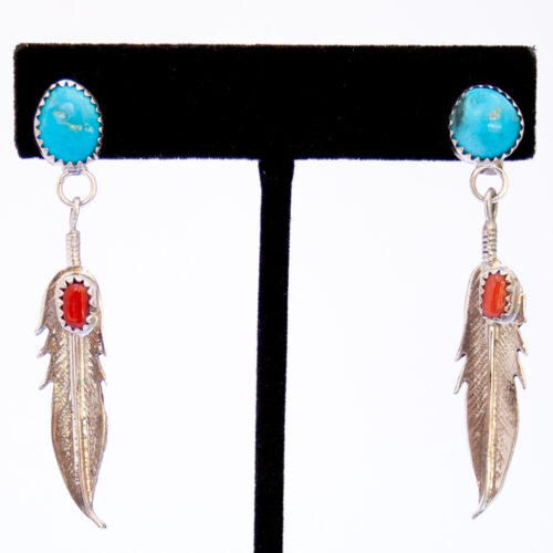 Navajo Turquoise Coral Single Feather Drop Earrings