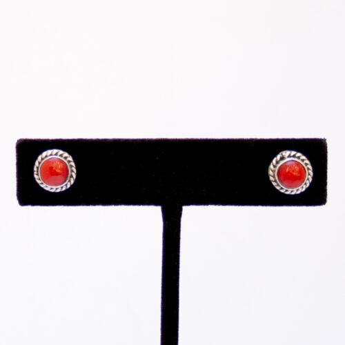 Native American Round Red Coral Stud Earrings