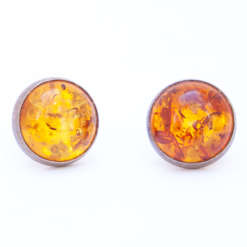 Native American Round Amber Stud Earrings