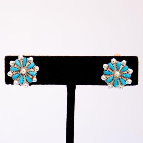 Zuni Turquoise Flower Clip On Earrings