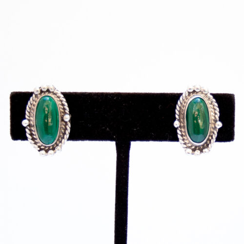 Native American Malachite Clip On Earrings