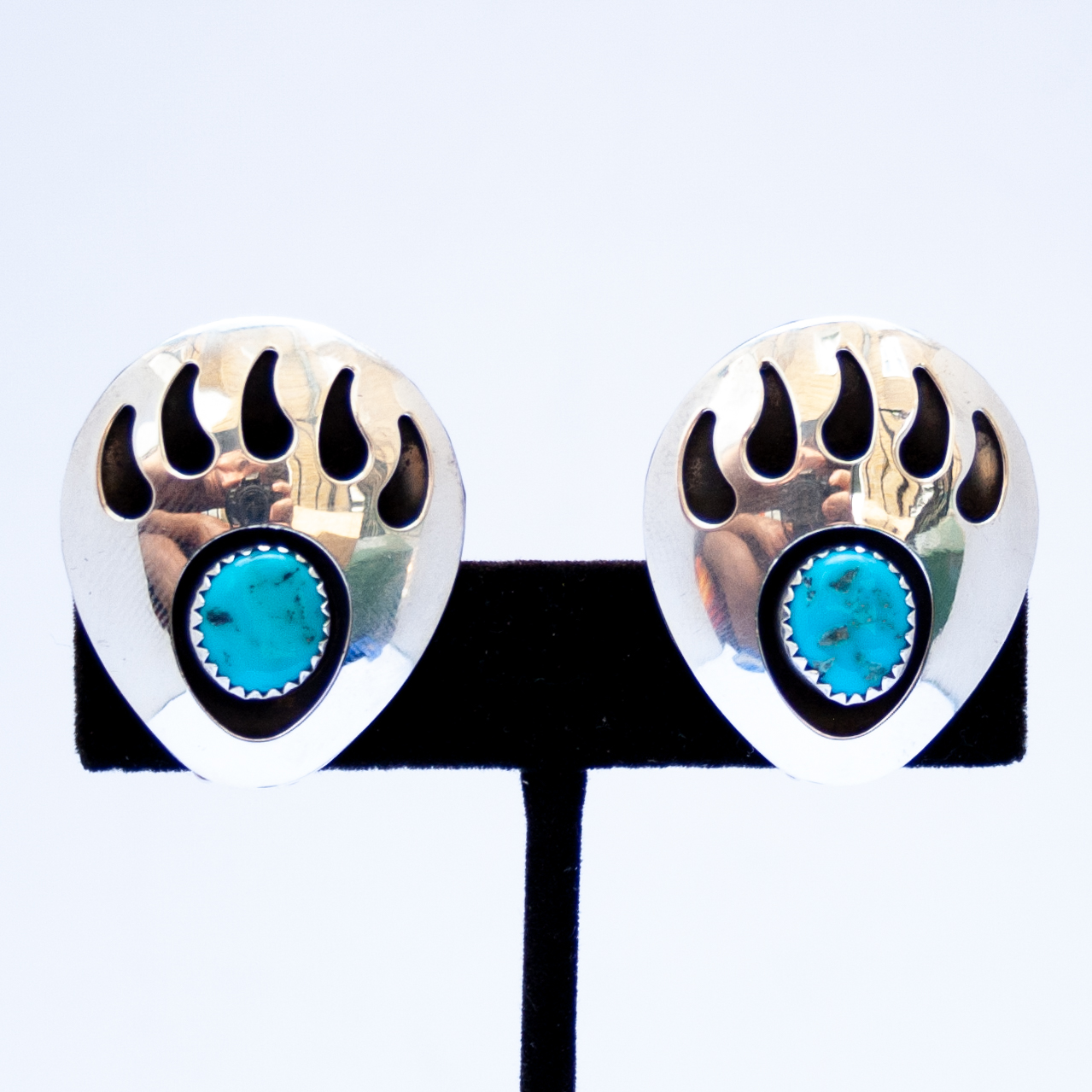 Large Turquoise Bear Paw Clip On Earrings