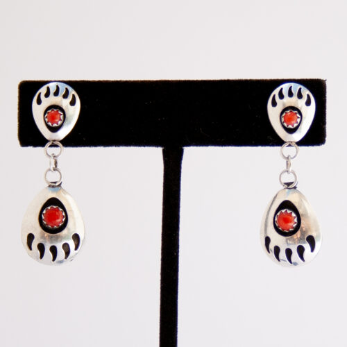 Native American Zuni Coral Bear Paw Earrings