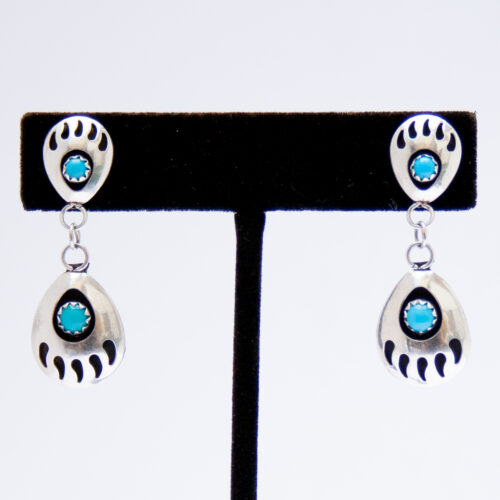 Native American Zuni Turquoise Bear Paw Earrings