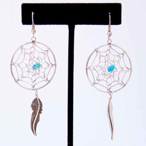 Large Turquoise Dream Catcher Drop Earrings
