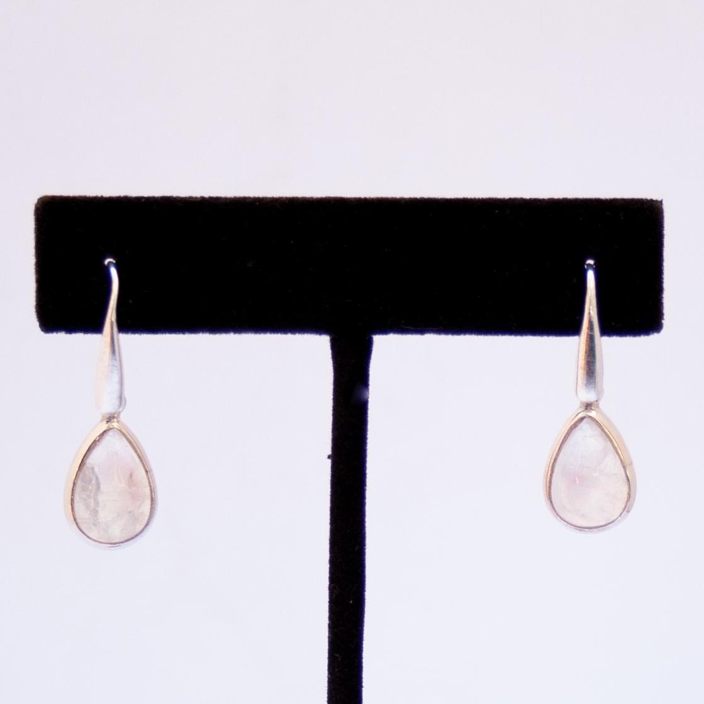 Rainbow Moonstone Silver Drop Earrings
