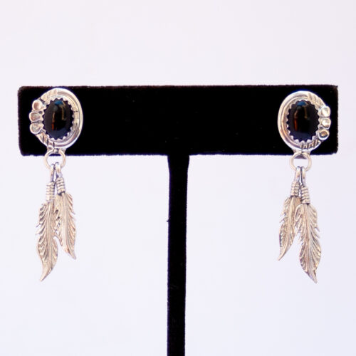 Small Jet Silver Feather Drop Earrings