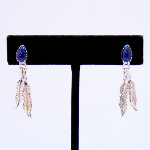 Small Lapis Silver Feather Drop Earrings