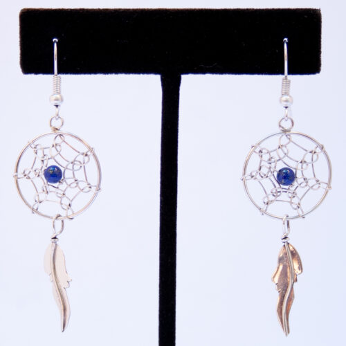 Native American Medium Lapis Lazuli Dream Catcher Earrings