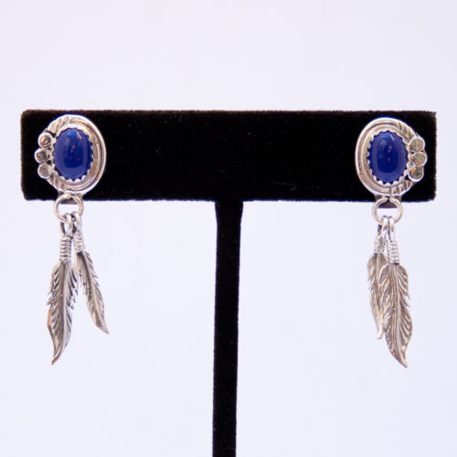 Native American Lapis Lazuli Silver Feather Drop Earrings