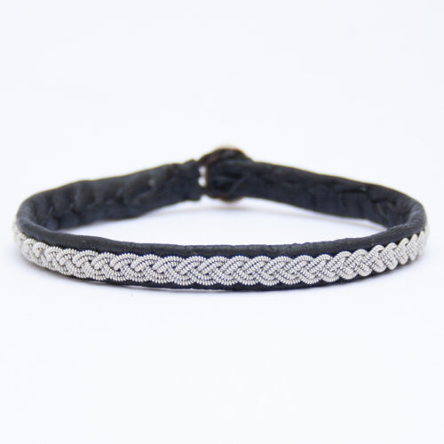Black Leather Silver Pewter Sámi Bracelet
