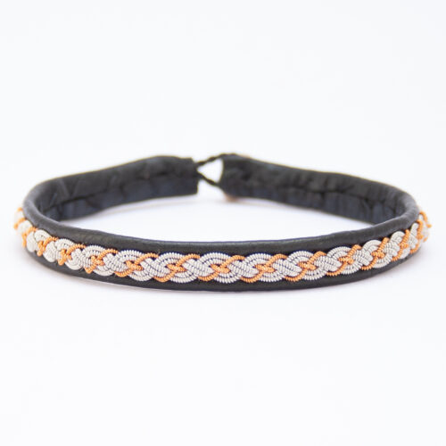 Black Leather Copper Silver Pewter Sámi Bracelet