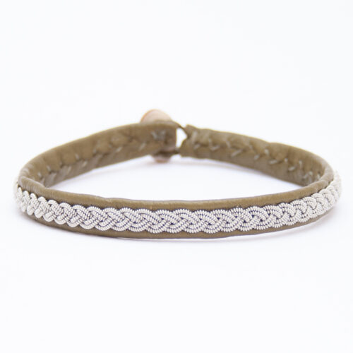 Olive Green Leather Silver Pewter Sámi Bracelet