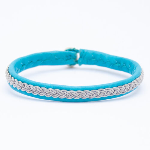 Blue Leather Silver Pewter Sámi Bracelet