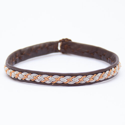Brown Leather Copper Silver Pewter Sámi Bracelet