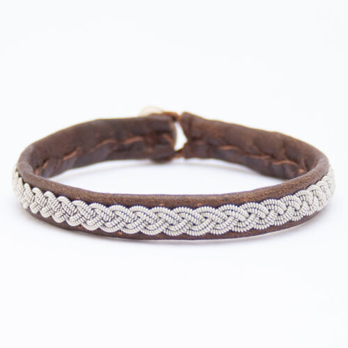 Brown Leather Silver Pewter Sámi Bracelet