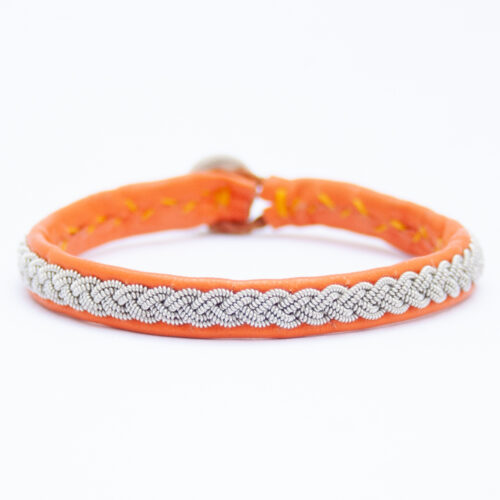 Orange Leather Silver Pewter Sámi Bracelet