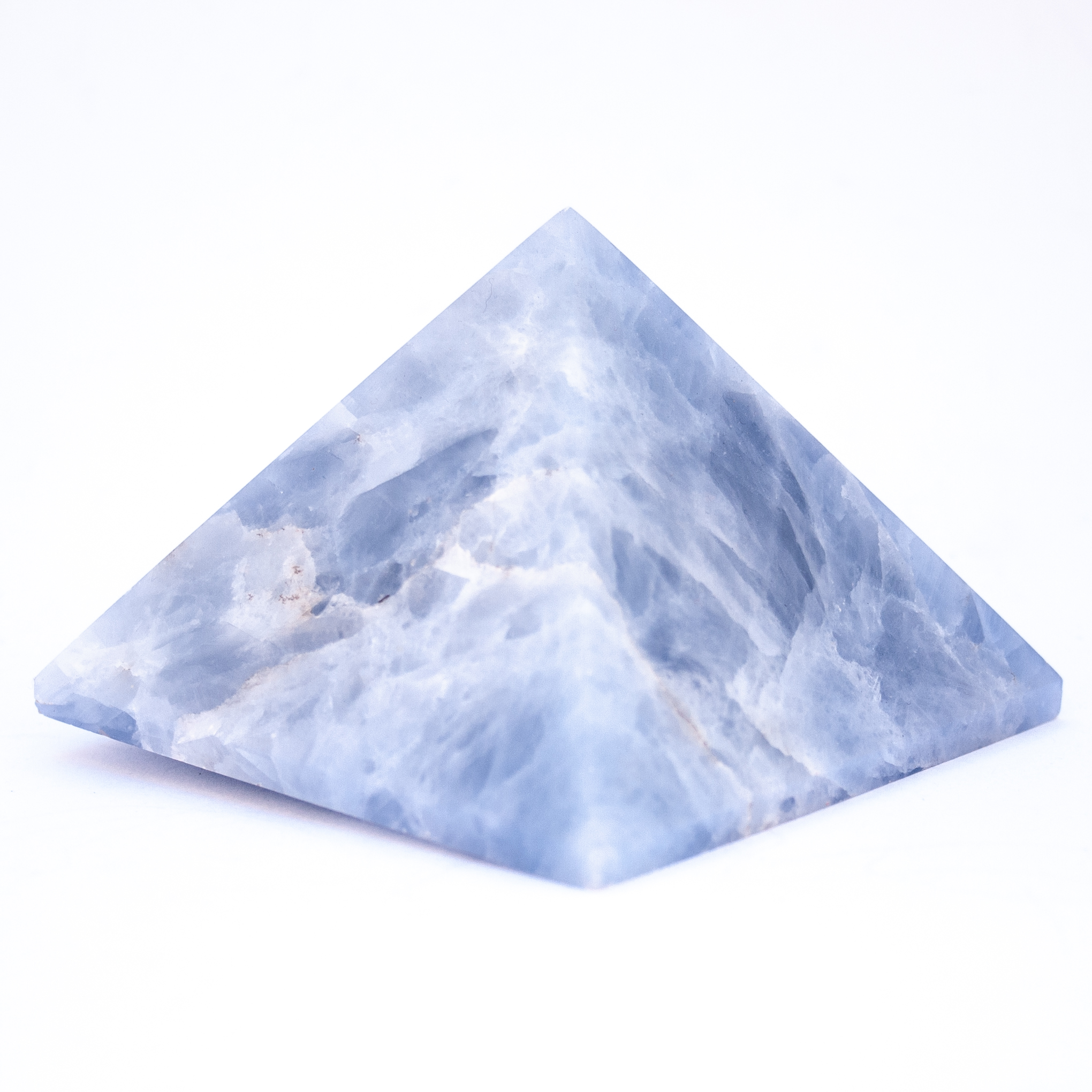 Large Blue Calcite Crystal Pyramid