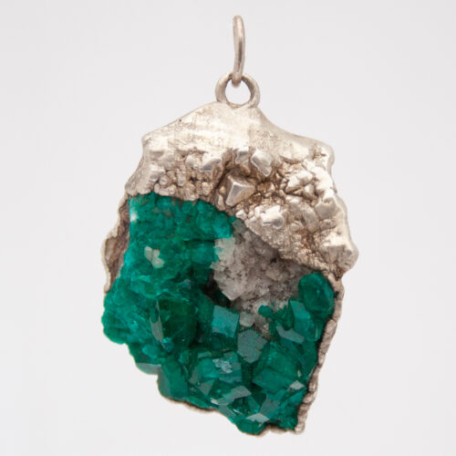 Sterling Silver Dioptase Cluster Pendant