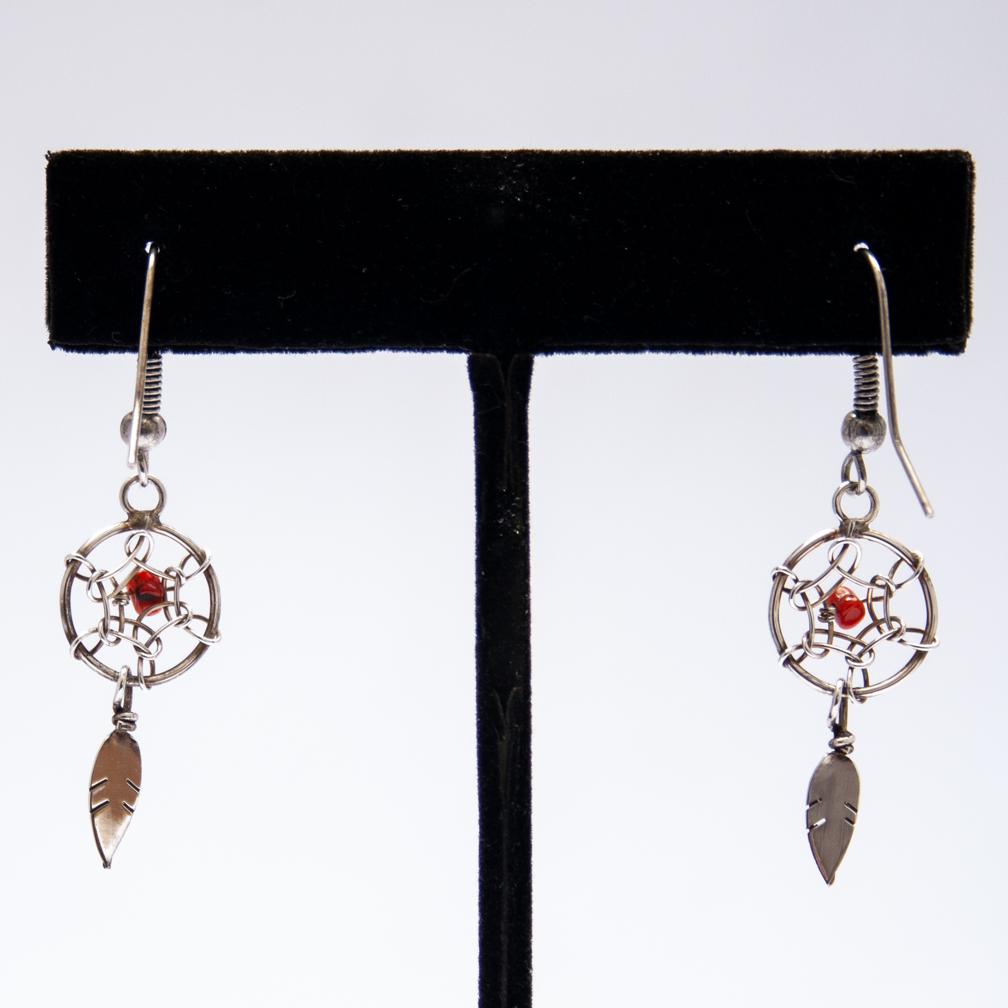 Small Red Coral Dream Catcher Drop Earrings