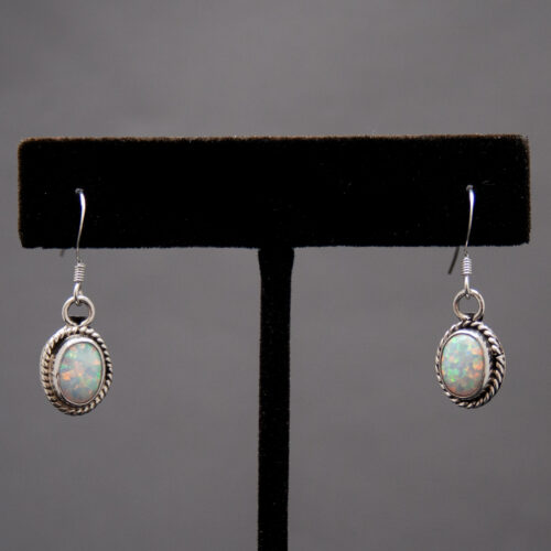 Native American Small White Opal Drop Earrings