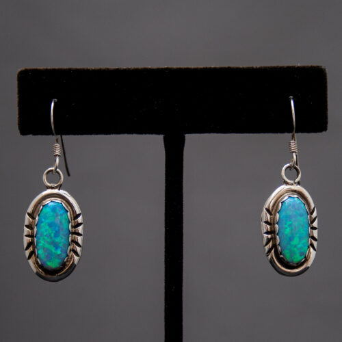 Native American Blue Opal Oval Drop Earrings