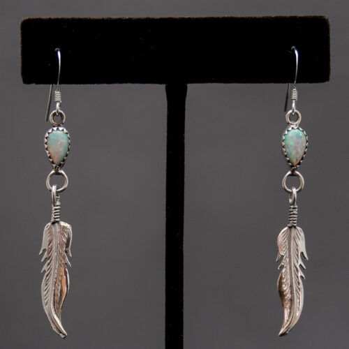 Silver Feather White Opal Drop Hook Earrings