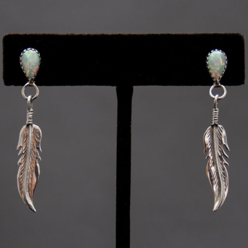 Silver Feather White Opal Drop Earrings