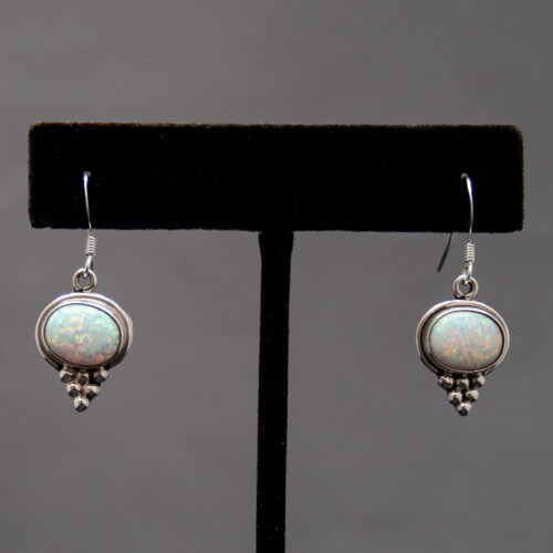 Small Silver White Opal Drop Earrings