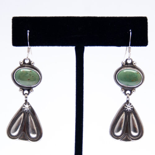 Green Turquoise Silver Triangle Drop Earrings