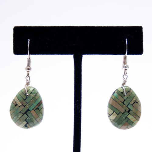 Green Turquoise Inlay Shell Drop Earrings