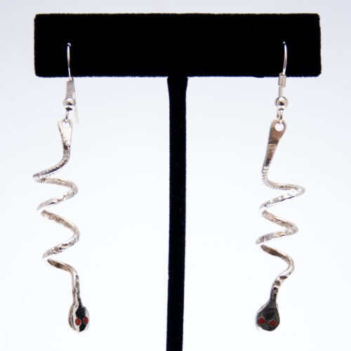 Effie Calavaza Thin Coral Silver Snake Earrings