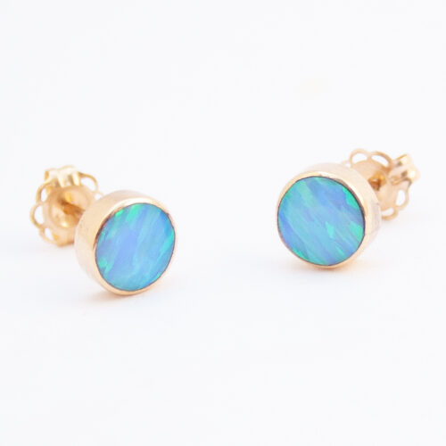 14K Gold Native American Opal Stud Earrings