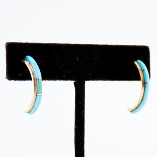 14K Gold Gloria Waseta Turquoise Hoop Earrings