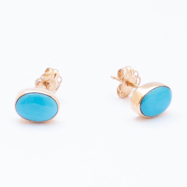14K Gold Native American Oval Turquoise Studs