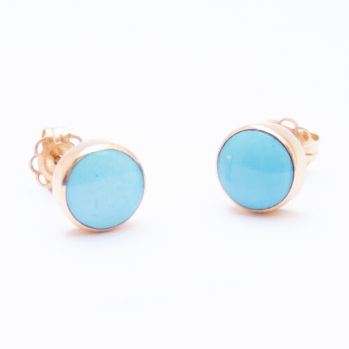 14K Gold Native American Round Turquoise Studs