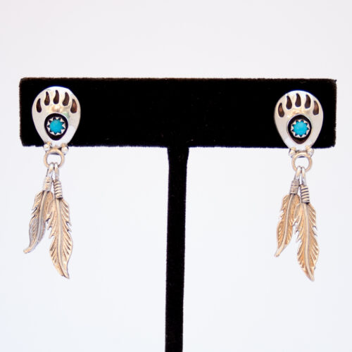 Turquoise Bear Paw Silver Feather Earrings