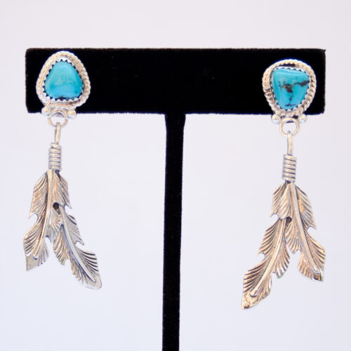Native American Turquoise Double Silver Feather Earrings