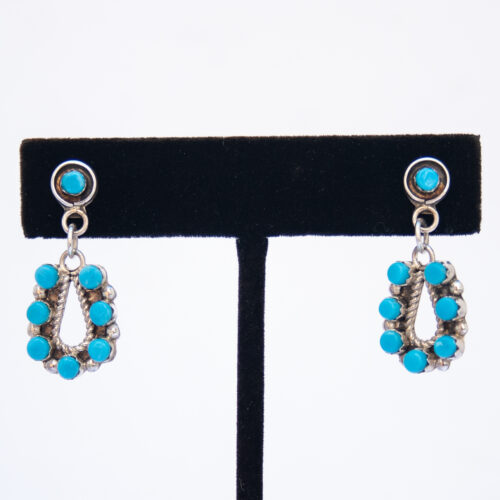 Laate Turquoise Petit Point Drop Earrings