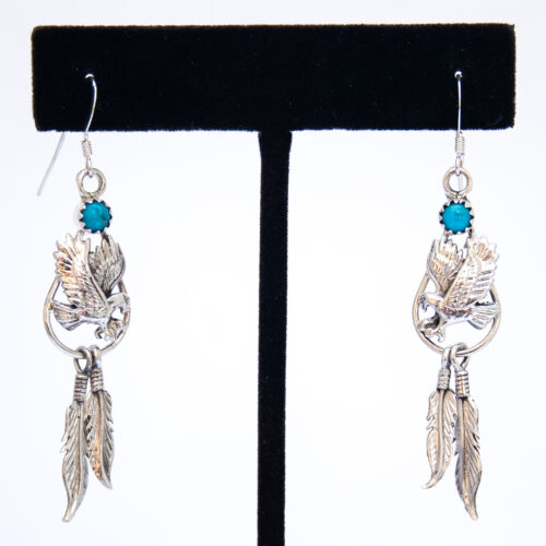 Silver Eagle Feather Turquoise Drop Earrings