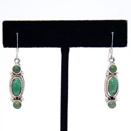 Small Triple Green Turquoise Drop Earrings