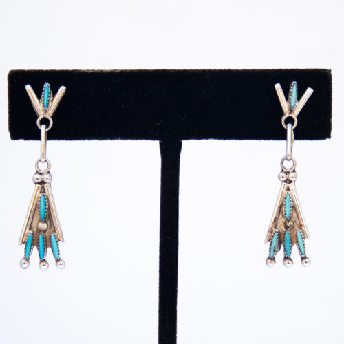 Small Turquoise Needlepoint Teepee Drop Earrings