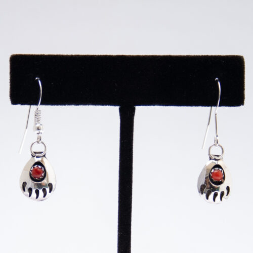 Bear Paw Red Coral Hook Drop Earrings