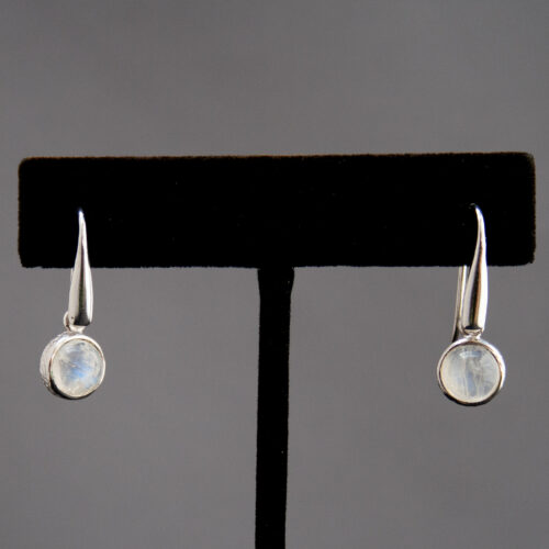 Small Round Rainbow Moonstone Drop Earrings