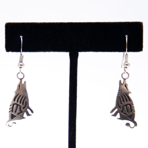 Native American Silver Coyote Drop Earrings