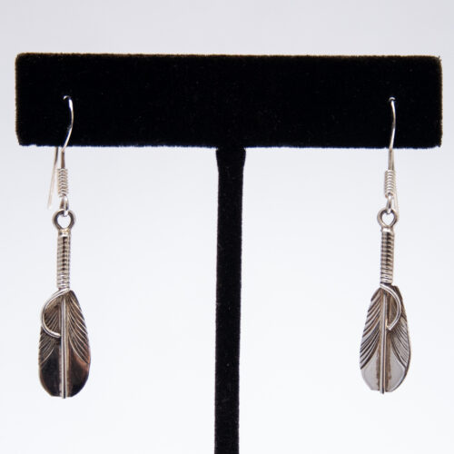 Small Plain Silver Feather Drop Earrings