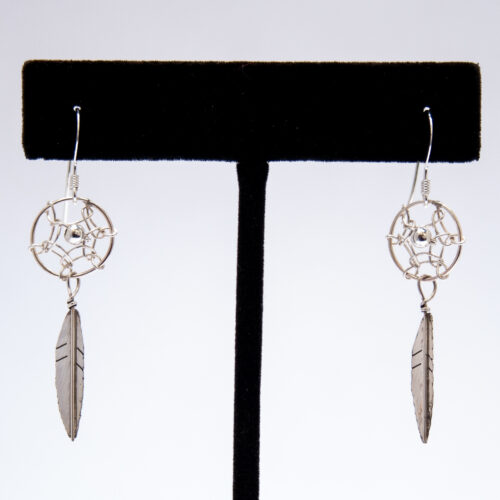 Small Plain Silver Dream Catcher Drop Earrings