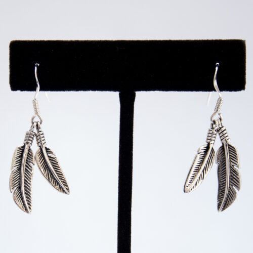 Plain Silver Double Feather Drop Earrings