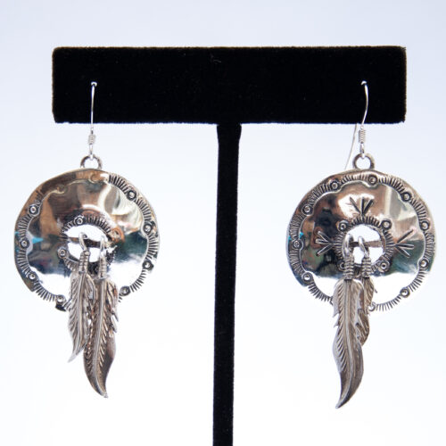 Plain Silver Medicine Shield Drop Earrings