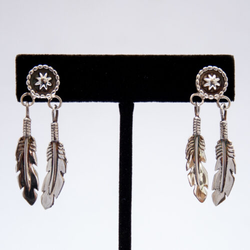Plain Silver Double Feather Medicine Shield Drop Earrings